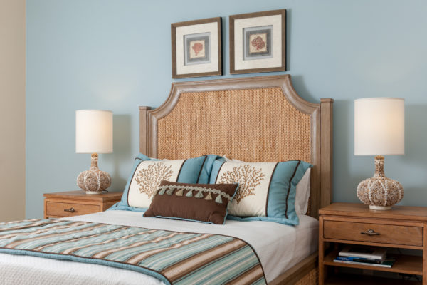 The Master's bedroom blue and brown motif