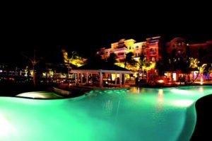 pool house at night: fire and ice restaurant