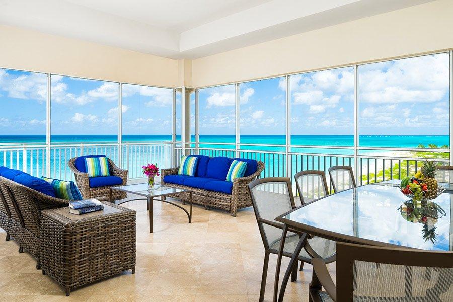the venetian blue sofa ocean view