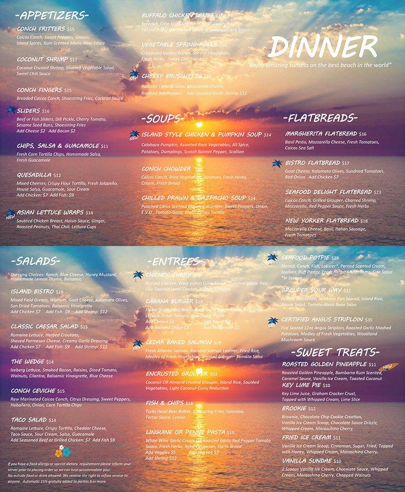 dinner menu: cabana bar and grille
