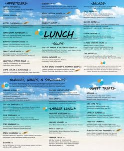 lunch menu: cabana bar and grille